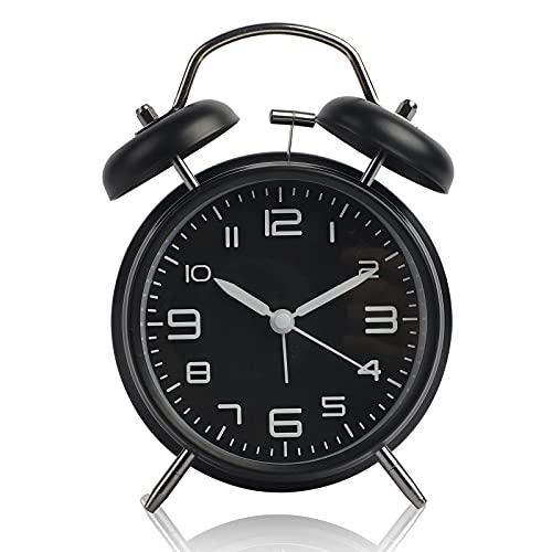 Sveglia con doppia campana per chi ha il sonno pesante, sveglia silenziosa senza tic tac con luce notturna, sveglia da camera dal design retrò