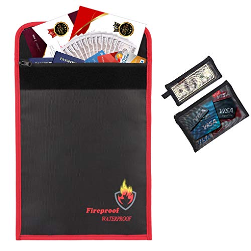 """Fireproof Document Bag (15"""" x 11"""") Plus Two Bonus Bags 
