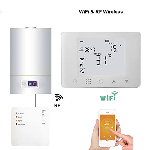 QAIYXM Thermostat, Wireless-LAN und Wireless RF Gas Thermostat Heizungskesseltemperatur durch Fernbedienung Programmierbare Steuerung