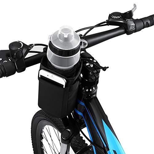 VLTAWA Bike 32oz Water Bottle Holder, Bicycle Water Bottle Cage No Screws, Waterproof-Insulation-Secured Drink Cup Holder with Storage Pocket, Suit for Bike Stroller Scooter Wheelchair Backpack