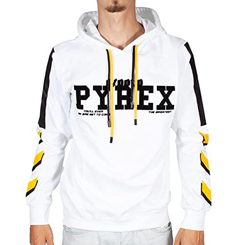Pyrex Felpa Uomo Bianco con Cappuccio Bande Laterali Bicolor e Stampa con Logo XL