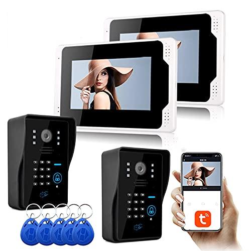 Timbre de video, intercomunicador, 1080P, visión nocturna, contraseña RFID, seguridad para el hogar, videoportero de 7 pulgadas, pantalla de 2 monitores + 2 cámaras