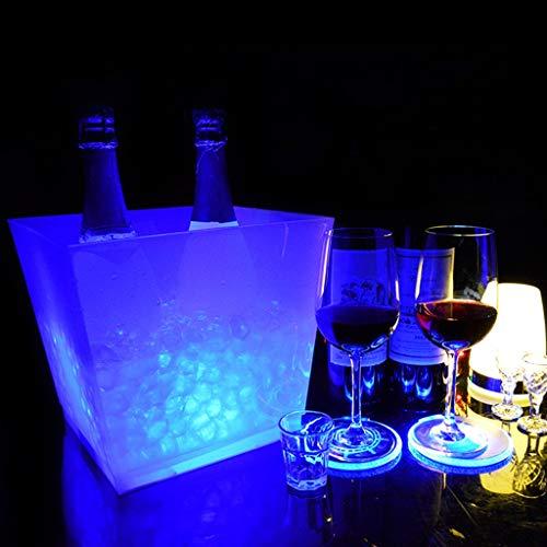 Eiskübel Beleuchtet - Eiskühler 10 L - Großer LED Sektkühler Eckig - Weinkühler - Edler Blickfang bei Jeder Party - Schönes Geburtstagsgeschenk,Blue