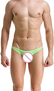 Mens Underwear, Sexy Ice Silk Ultra-Thin Transparent Low Waist Underwear for Men, Breathable Soft Sweat-Absorbent Breathable Self-Breathing Men Underwear for Gifts Gifts (Color : Green, Size : XXL)