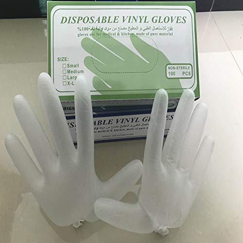 AMTSKR Einweghandschuhe PVC Schutzhandschuhe transparent staubfrei puderfrei ölbeständig rutschfest säurebeständig alkalibeständig XL