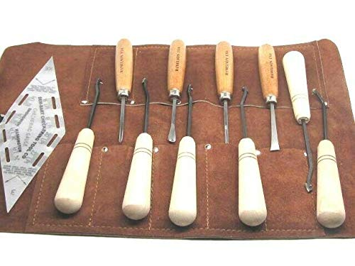 Affordable 12pc Master 18LPI Checkering & Wood Carving Tools Leather Roll Dem Bart RAMELSON USA