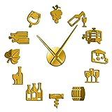 Leeypltm Reloj de Pared Retro Grande,Queso y Vino Moderno 37 Pulgadas Dorado DIY Reloj de Pared sin Marco Espejo Grande 3D Sticker para Decorar La Oficina o Casa