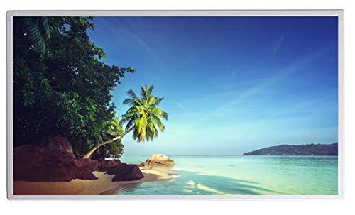 Bildheizung Infrarotheizung mit Digitalthermostat für Steckdose - 5 Jahre Herstellergarantie- Elektroheizung mit Überhitzungsschutz (Seychelles Beach;1000W)
