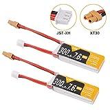 Makerfire 2pcs 2S Lipo 300mAh Batteria 80/160C HV 7.6V con Spina XT30 per Mobula7 HD FPV Racing...