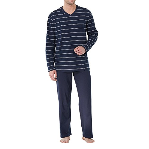 Schiesser Herren Lang Zweiteiliger Schlafanzug, Blau (Dunkelblau 803), X-Large