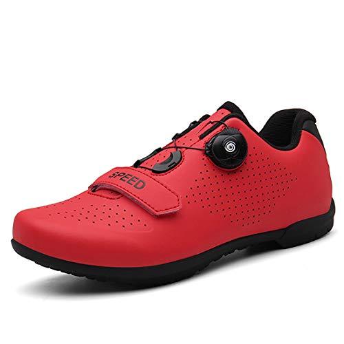Scarpe da Bicicletta per Uomo E Donna Senza Blocco Scarpe da Ginnastica con Suola Rigida per Bici da Strada (45,Rosso)