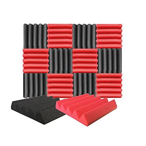 Arrowzoom 12 Paneles acustico absorción sonido Cuña Wedge 25x25x5cm Espuma acústica aislamiento acustico estudio de grabación Casas Estudios Azulejos Incombustibles Insonorizados Negro Rojo