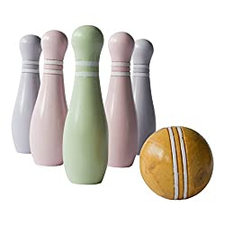 YOUNG and OLD can practise their bowling skills with these DELIGHTFUL pastel coloured  Junior Wooden Skittles. Set consists of  6 x Wooden Skittles each 18cm high and a BEAUTIFULLY TURNED WOODEN BALL 7.5cm.  Alternative GIFT IDEA.  Suitable for ages ...