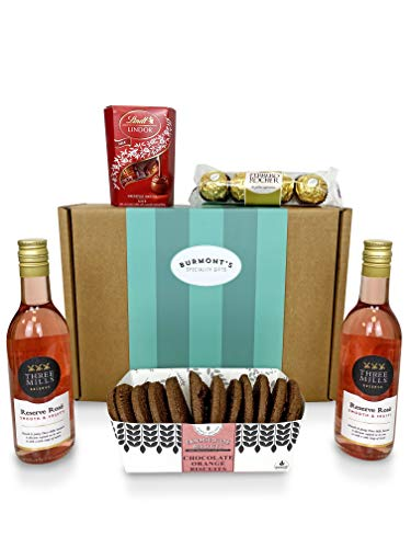 Rosé Wine & Chocolate Hamper - 2 Small Rose Wines, Lindt Lindor Chocolates, Ferrero Rocher & Premium Chocolate Chip Biscuits - Hamper Exclusive To Burmont's