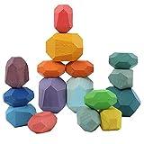 Newin Star Equilibrio de Madera Bloques de Piedra, Madera Natural Piedras de Equilibrio, Educativo Puzzle de Juguete para el bebé de los niños 16Pcs Colorido