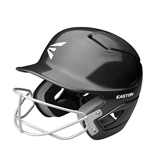 EASTON ALPHA Fastpitch Softball Batting Helmet with Mask, 2021, TBall-Small, Charcoal, Dual-Density Impact Absorption Foam, High Impact Resistant ABS Shell, BioDRI Liner, Removable Logo