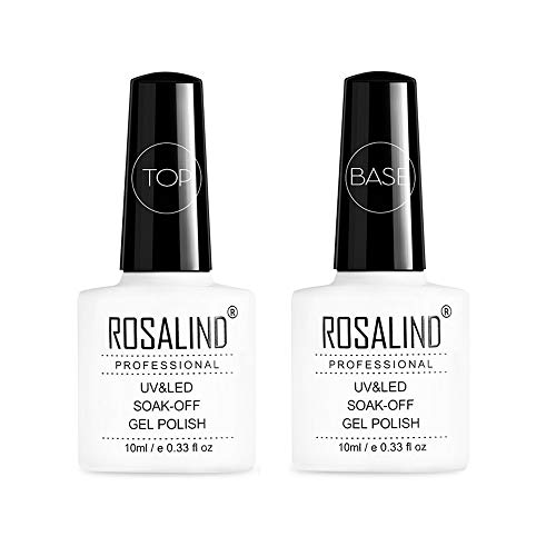 ROSALIND Base y Top Coat Semipermentes, Esmaltes Semipermanentes de Uñas en Gel UV LED Gel Soak Off 10ML