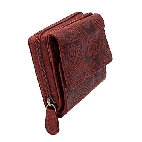 Mini portefeuille pour femme en cuir de buffle véritable couleur terre cuite