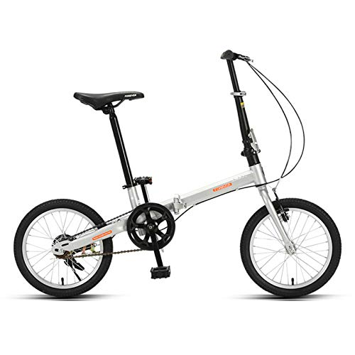 JKCKHA Bicicleta Plegable para Adultos, Bicicleta Plegable Ultraligera, Ruedas De 16 Pulgadas, Bicicleta Ligera De Moda, Múltiples Colores,Plata