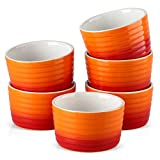 MALACASA, Series Ramekin, 300ML Porcelain Ramekins Dishes Set of 6, Ramekins Souffle Dishes Brulee Dish for Muffin Cupcakes Pudding Brulee Ice Cream, 10 x 10 x 6 cm, Orange