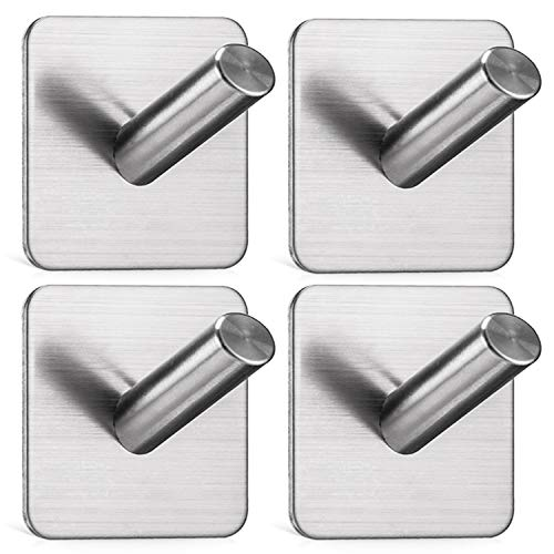 Jekoo Adhesive Wall Hooks Heavy Duty Hooks for Hanging Wall Hangers Stick on Shower Home Bathroom Kitchen Door Ideal for Robes, Umbrellas, Clothes, Bags, Coats, Keys - Stainless Steel - 4 Packs