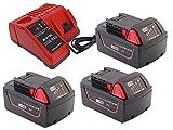 FengBP3 x M18 18V 5.0Ah batería para Milwaukee M18 48-11-1828 48-11-1840 C18B M18BX M18B4 M18B5 M18 XC Red Li-ion + para cargador Milwaukee M12 M14 M18 Milwaukee M18 llave de impacto inalámbrica