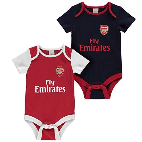 Team Kinder Baby Jungen Kurzarm Body Rundhals Baumwolle Fussball Fan 2er Pack Arsenal 0-3 Mnth