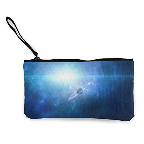 Wrution Saturn Planet Space Galaxy Universe Canvas Münztasche mit Reißverschluss, kleine Geldbörse weiblich tragbar große Kapazität