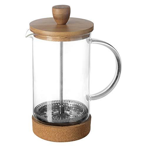 Frenchpress Koffieedruk, theepers, zeefstempel, glas, bamboe, kurk, 600 ml, voor 2 potten, koffie of thee
