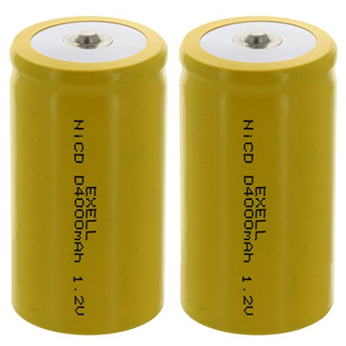 2x D Size 1.2V 4000mAh NiCD Button Top Rechargeable Batteries for high power static applications