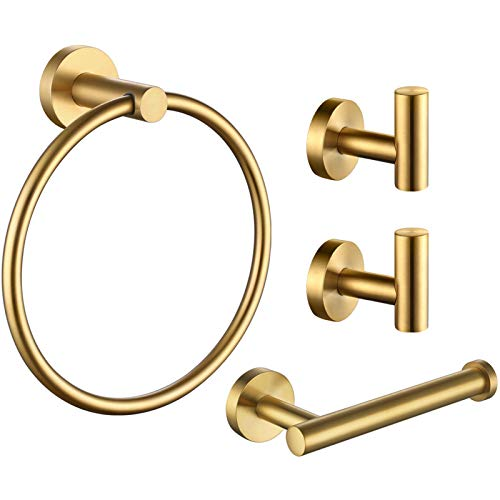 4 Piece Bathroom Hardware Accessories, Angle Simple SUS304 Stainless Steel Wall Mounted Towel Holder Includes Bath Towel Hook X 2, Half Open Toilet Paper Holder, Round Hand Towel Ring, Brushed Gold