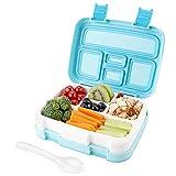 Auslaufsichere Bento Box für Kinder und Erwachsene,Lunchbox mit Besteck und 5 Fächer Geeignet für Mikrowellen und Spülmaschinen(Blau)