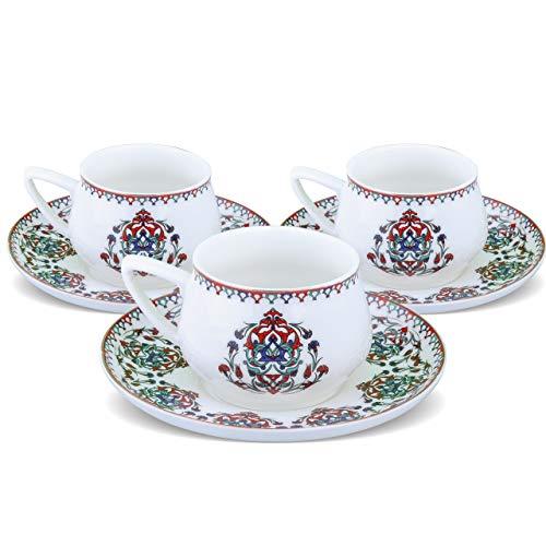 KARACA Nakkash Türkische Kaffeetassen Set Für 6 Personen, 12 TLG, 6X Espressotasse und 6X Untertasse, Mokkatassen/Espressotassen Set aus Porzellan, Kaffeetassen mit Untertasse-Espresso Set