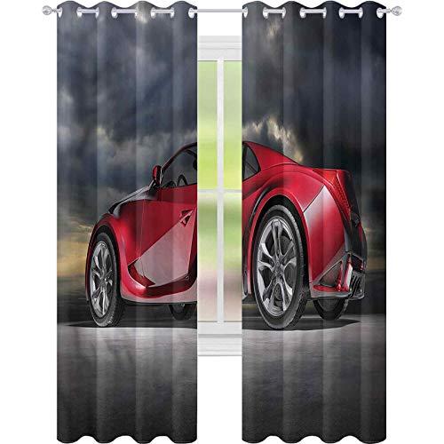 jinguizi Cortinas para dormitorio coches moderno rojo deportivo vehículo W42 x L72 cortinas opacas para dormitorio