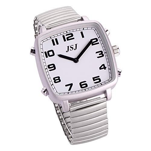 Reloj Parlante en Español, Reloj de Pulsera Cuadrado,Esfera Blanco, con Expandible de Pulsera TSSW-1801S