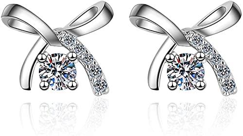LSWKG Pendientes para Mujer, S925 Sterling Silver Bow Moissan Diamond Pendientes, Damas Pendientes de Moda 50 Puntos Moissanite 1 Pendientes de Carat