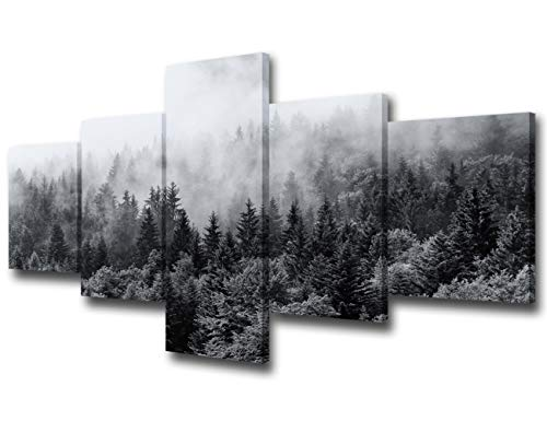 5 Piece Canvas Wall Art for Living Room- Misty Forests of Evergreen Coniferous Trees in an Ethereal Landscape with Low Laying Mist- Modern Home Decor Stretched and Framed Ready to Hang - 50'W x 24'H