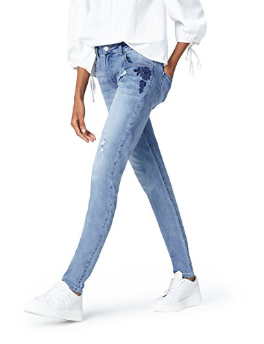Amazon-Marke: find. Damen Slim Fit Jeans mit mittlerem Bund, Blau (Denim), 28W / 32L, Label: 28W / 32L