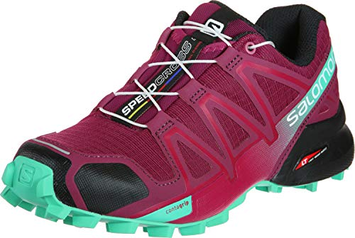 Salomon Women's Speedcross 4 Trail Running Shoes, Beet Red/Electric Green/Black, 7.5