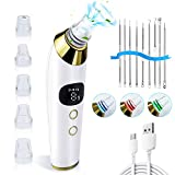 Blackhead Remover Pore Vacuum, Electric Facial Vacuum Pore Cleaner Devices Tool Kit with 5 Replacement Probes & 5 Adjustable Suction Power, USB Rechargeable, LED Screen, Great Gift for Facial Skin