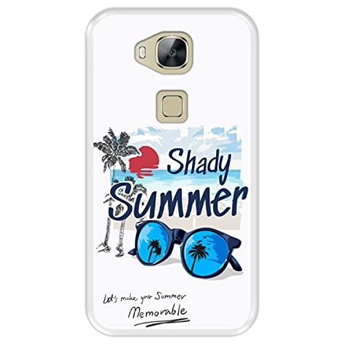 Funda Transparente para [ Huawei G8 - GX8 ] diseño [ Verano, Vacaciones, Playa - Shady Memorable Summer ] Carcasa Silicona Flexible TPU