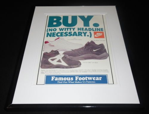 1995 Nike Air Hops / Famous Footwear 11x14 Framed ORIGINAL Advertisement