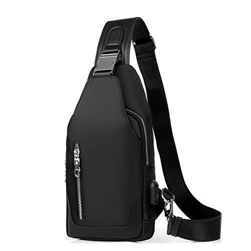FANDARE Neu Brusttasche Herren Schultertasche Sling Bag Rucksack mit USB Umhängetasche Sporttasche für Wandern,Abenteuer,Sport, Reisen und Joggen Schwarz A