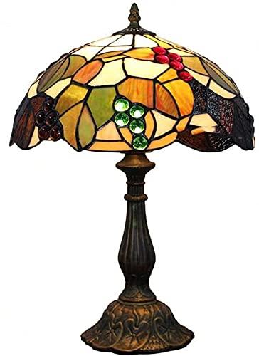 Rnwen Lámpara de Mesa de Vidrio de Estilo Europeo, lámpara de Noche de Dormitorio de UVA bronceada, lámpara de Mesa de iluminación de habitación de Hotel Verde y Negra Retro, 30 * 48 cm