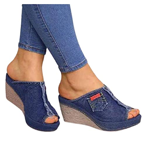 CNNLove Sandalias con Plataforma Abierta por Delante para Mujer, Zapatos De Tacón Alto,Azul,42
