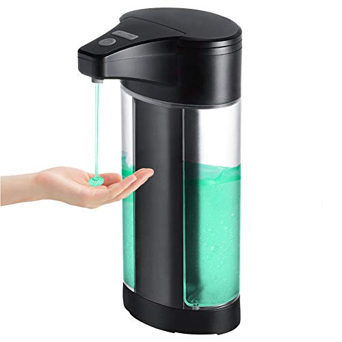 WIFORT Dispensador de Jabón Automático, 400ML Dispensador de Líquido Sin Contacto con Sensor de Infrarrojos, Interruptor Ajustable & Base Impermeable, para Baño, Cocina