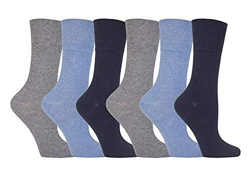 Weiche Halt - 6 Paar Damen Diabetiker Socken mit Wabe Top & Hand verknüpfte Zeh Nähte - EU 37-41 Eu 37-42, Blau, 32-36