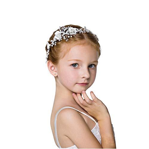 Hochzeit Kopfschmuck Blumen,Hochzeit Haarschmuck für Mädchen und Blumenmädchen(Weiß)