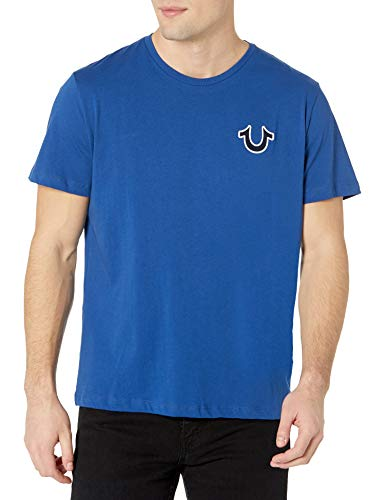 True Religion Brand Jeans Men's Buddha Crewneck Tee, Cobalt Blue, M