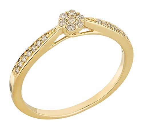 Ardeo Aurum Damenring aus 375 Gold Gelbgold mit 0,14 ct Diamant Brillant Solitär Verlobungsring